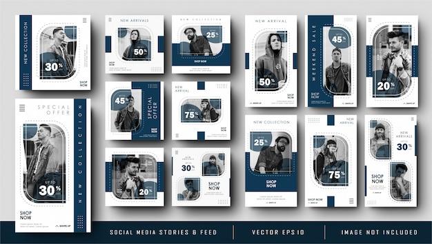 Minimalistische blue navy instagram-geschichten und banner-vorlage für social media-feeds