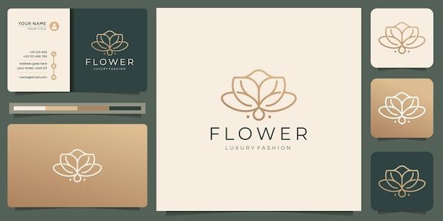 Minimalistische blumenrose-logo-design-vorlage. luxus-schönheitslinie kunststil mit visitenkartendesign.