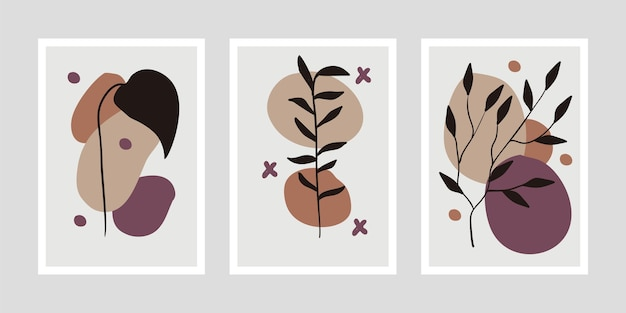 Minimalistische botanische kunstsatzillustration