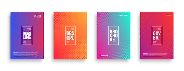 Minimalistische broschürenvorlagen mit geometrischer halbtonstruktur und lebendigen verläufen Premium Vektoren