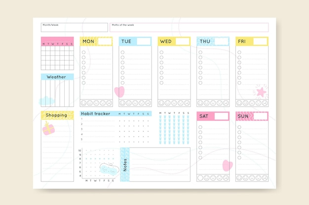 Minimalistische bullet journal planer vorlage