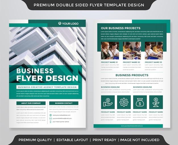 Minimalistische business flyer design vorlage mit zwei seiten