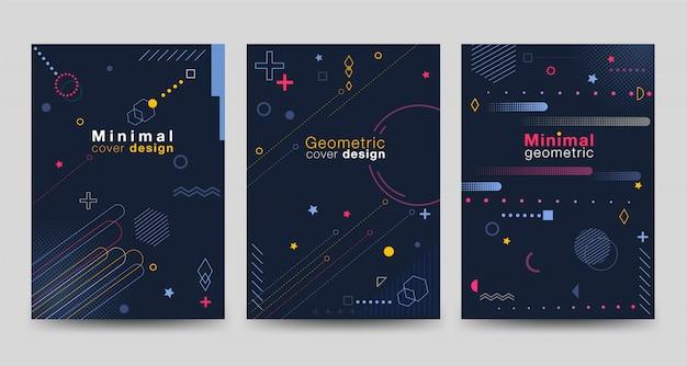 Minimalistische cover-kollektion mit geometrischen mustern