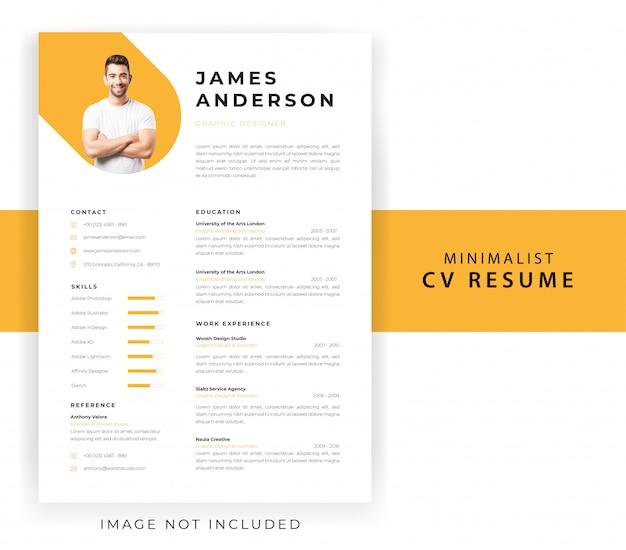 Minimalistische cv resume-vorlage