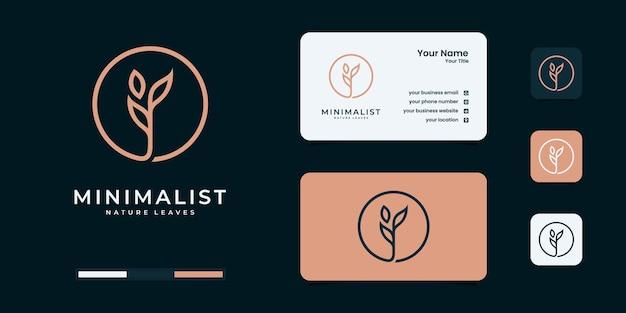 Minimalistische designvorlagen für blattnatur-logos