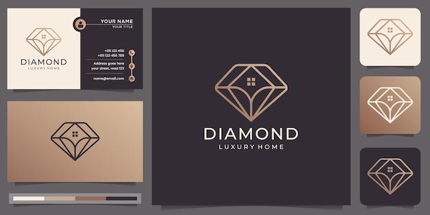 Minimalistische diamanten und hauslogo und visitenkarte.