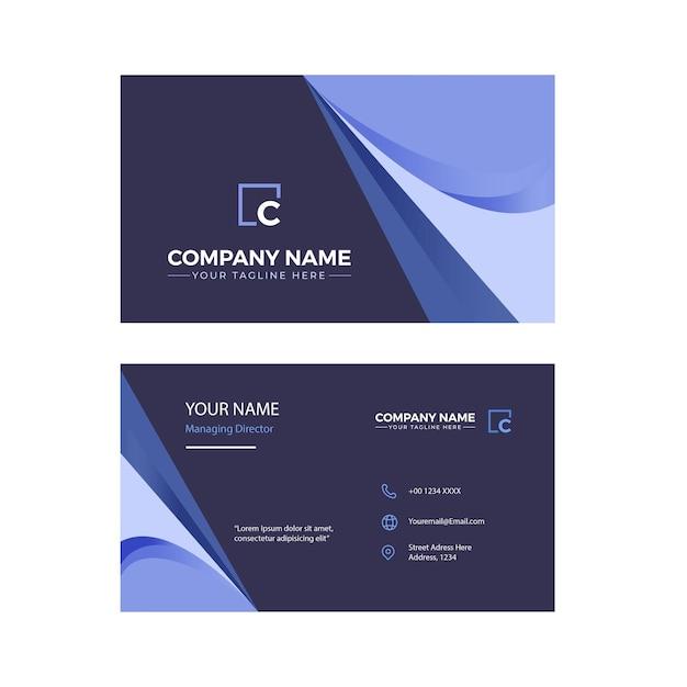 Minimalistische doppelseitige elegante blaue visitenkarte