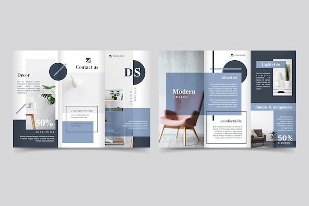 Minimalistische dreifach gefaltete broschüre mit foto
