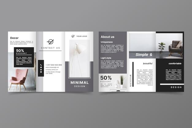 Minimalistische dreifach gefaltete broschürenvorlage mit foto