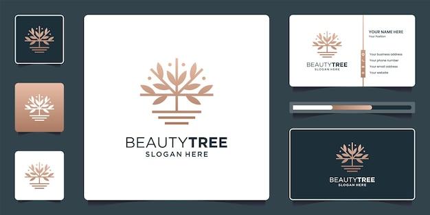 Minimalistische elegante baumlogodesigninspiration mit visitenkarte