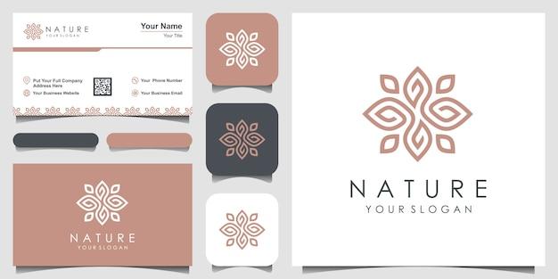Minimalistische elegante blatt- und blumenrose. logo-design und visitenkarte