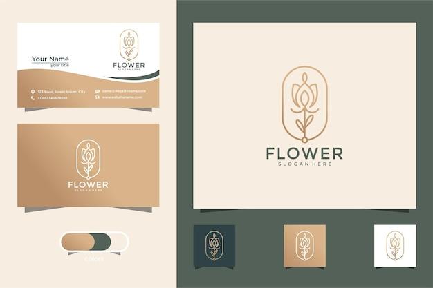 Minimalistische elegante blume luxus beautyfashionskin carecosmetetic mit visitenkarte
