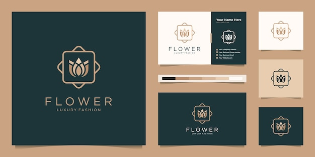 Minimalistische elegante blumen-luxus-schönheitsprodukte. logo-design und visitenkarte