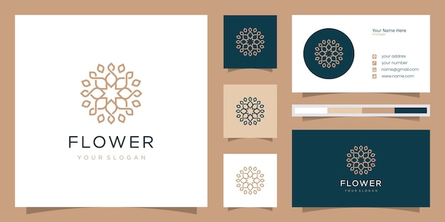 Minimalistische elegante blumenrose für schönheit, kosmetik, yoga und spa. logo und visitenkarte