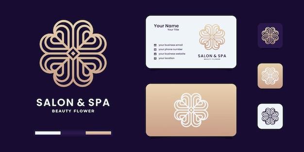 Minimalistische, elegante blumenrose mit logo im linienstil. logo für schönheitssalon, spa, massage.