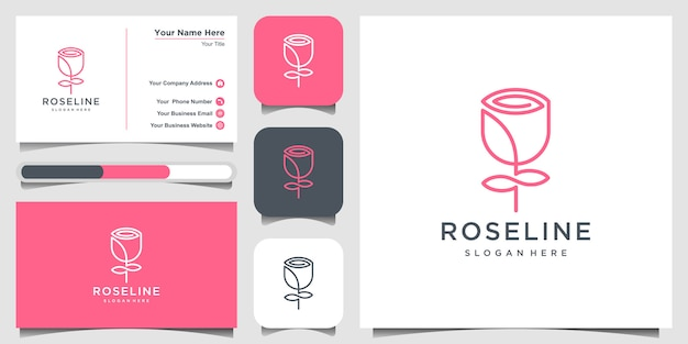 Minimalistische, elegante blumenrosenschönheit, kosmetik, yoga und spa-inspiration. logo, symbol und visitenkarte