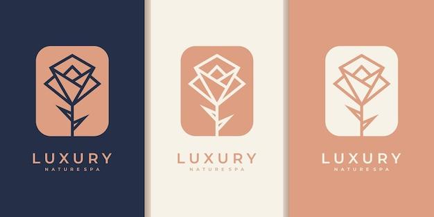 Minimalistische elegante blumenrosenschönheit. logo verwenden kosmetik-, yoga- und spa-logo-inspiration