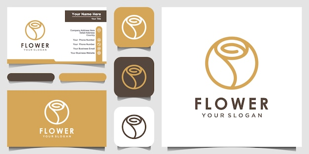 Minimalistische elegante blumenrosenschönheit mit kreisart. logo und visitenkarte