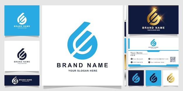 Minimalistische elegante brief-ge-monogramm-logo-vorlage mit visitenkartendesign