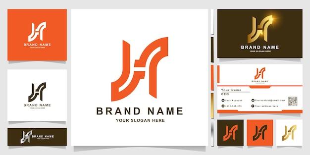 Minimalistische elegante buchstabe h-logo-vorlage mit visitenkarte