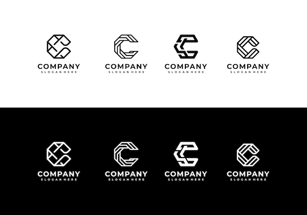 Minimalistische elegante kreative buchstaben-c-logo-sammlung