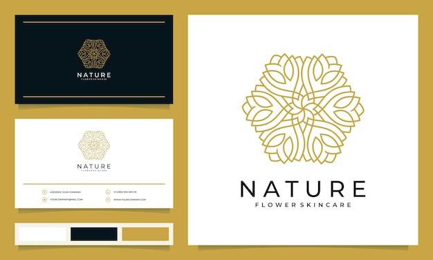 Minimalistische elegante moderne blumenlogo-design-inspiration für salons, spas, hautpflege, boutiquen, mit visitenkarten