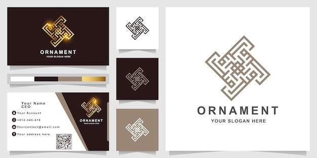 Minimalistische elegante ornament-logo-vorlage mit visitenkarte