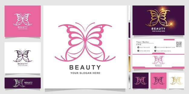 Minimalistische elegante schmetterlings-ornament-logo-vorlage mit visitenkarten-design.