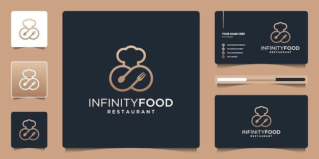 Minimalistische elegante unendlichkeit mit lebensmittelsymbol für restaurant, bar, café.