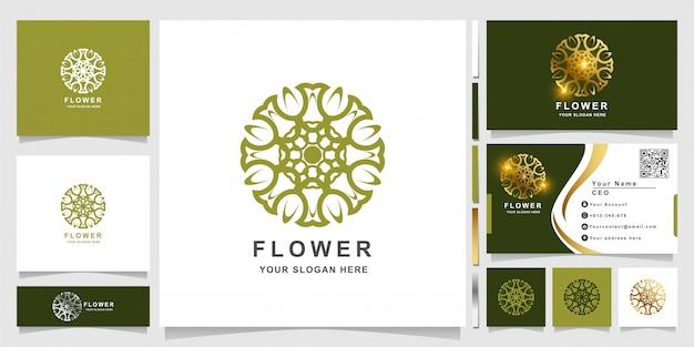 Minimalistische elegante verzierungsblumenlogoschablone mit visitenkartenentwurf. kann spa-, salon-, beauty- oder boutique-logo-design verwendet werden.