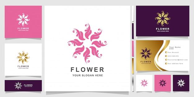Minimalistische elegante verzierungsblumenlogoschablone mit visitenkartenentwurf