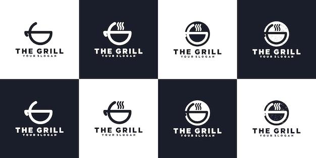 Minimalistische grill-logo-kollektion, logo-referenz