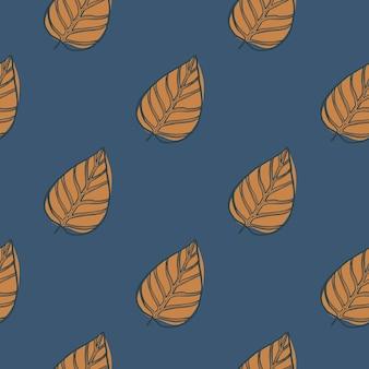 Minimalistische handgezeichnete konturierte blätter nahtloses muster. herbstdruck mit orangefarbenen laubfiguren