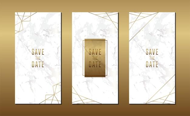 Minimalistische hochzeitseinladungskarte mit marmor
