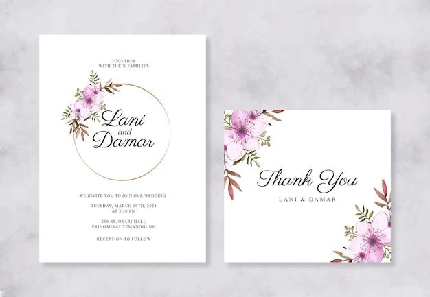 Minimalistische hochzeitseinladungskartenschablone mit aquarellblumen