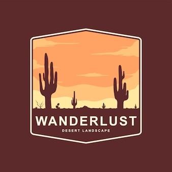 Minimalistische illustration eines kaktus in der wüste bei sonnenuntergang