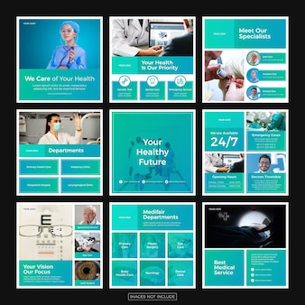 Minimalistische instagram-postvorlagen für das gesundheitswesen