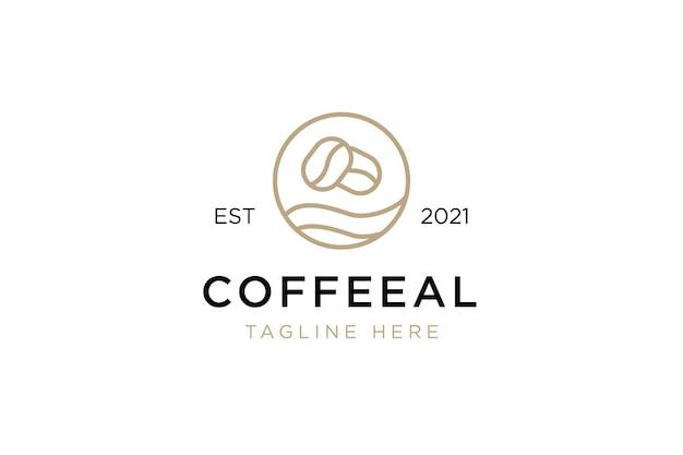 Minimalistische kaffeebohnen-logo-vorlage