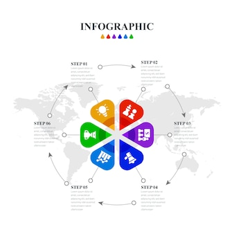 Minimalistische kreative infografik mit sechs schritten