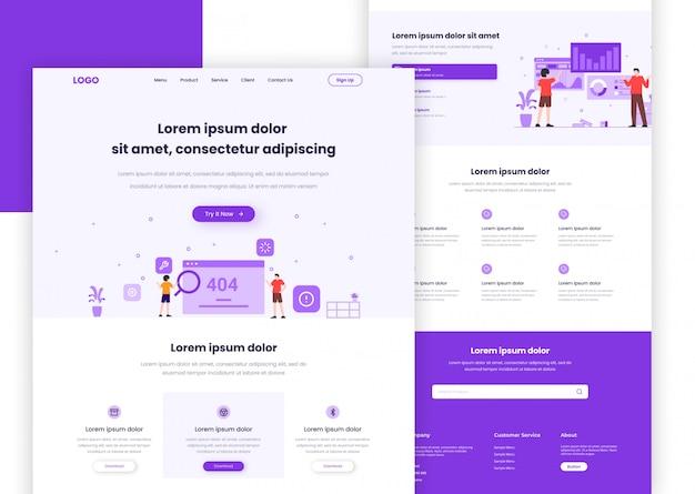 Minimalistische landingpage und webdesign-vorlage mit illustration