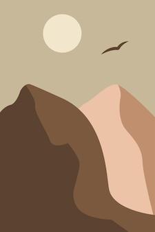 Minimalistische landschaft mit bergen bei sonnenuntergang abstrakte moderne flache vektorillustration