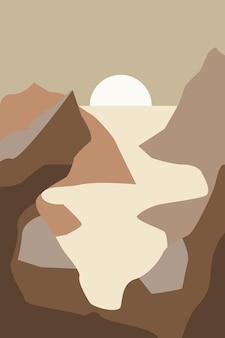 Minimalistische landschaft mit bergen und fluss bei sonnenuntergang moderne flache vektorillustration
