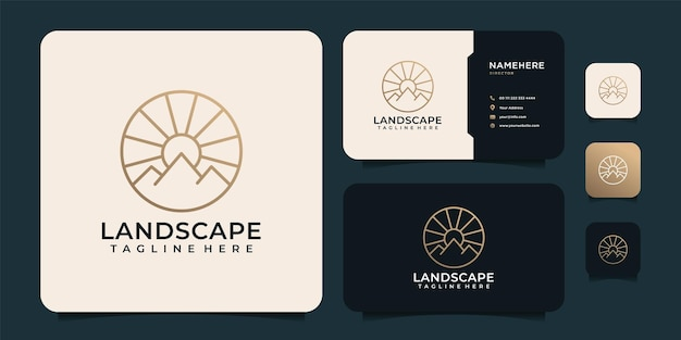 Minimalistische linie abstrakter berg mit sonnenlicht-logo-design