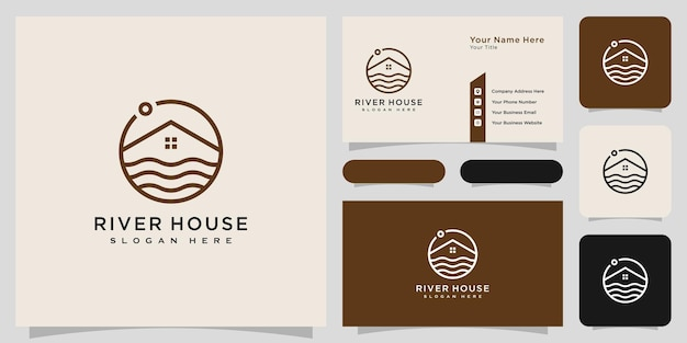 Minimalistische linie abstraktes haus mit fluss-logo-design