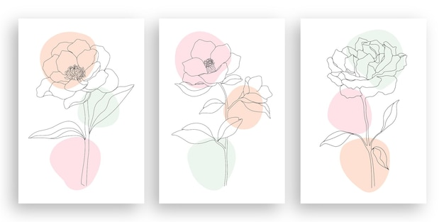 Minimalistische linienkunst-blumenillustration mit dem entwurfssatz der abstrakten blätter