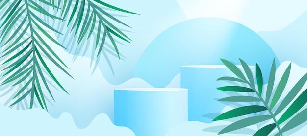 Minimalistische moderne produktpräsentation mit frischen palmblättern und podest