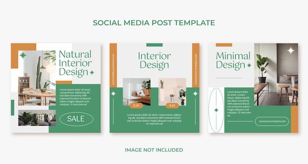 Minimalistische möbel-innenarchitektur-instagram-post-vorlage