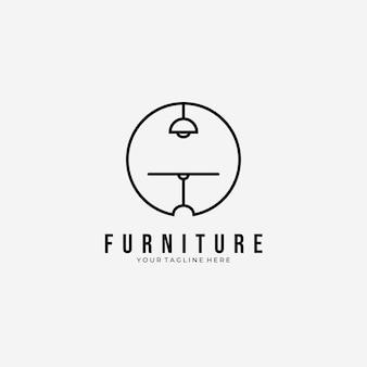 Minimalistische möbel tisch und lampe logo vektor illustration design strichzeichnungen emblem, büro clever logo design