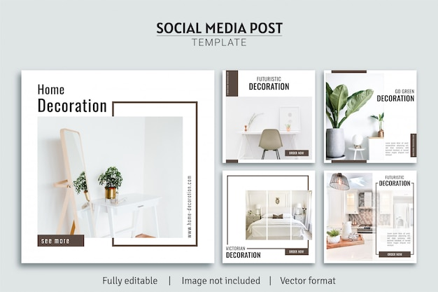 Minimalistische möbelhausdekoration social media post template design premium kollektion
