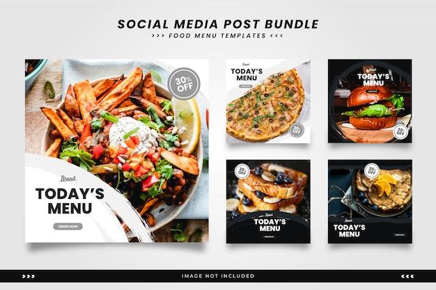 Minimalistische pinsel-food-menü social media post-vorlagen